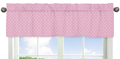 Pink and White Polka Dot Window Valance for Skylar Collection