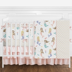 Pink and White Watercolor Mermaid Baby Girl Crib Bedding Set with Bumper by Sweet Jojo Designs - 9 pieces