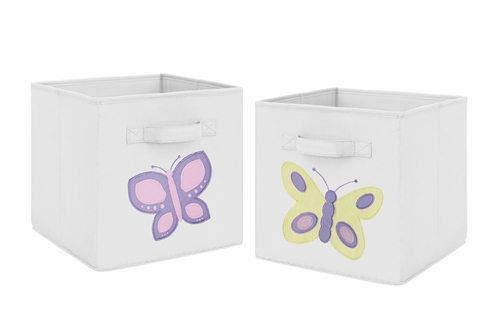 Pink and Yellow Butterfly Foldable Fabric Storage Cube Bins Boxes Organizer Toys Kids Baby Childrens for Collection by Sweet Jojo Designs - Set of 2 - Click to enlarge