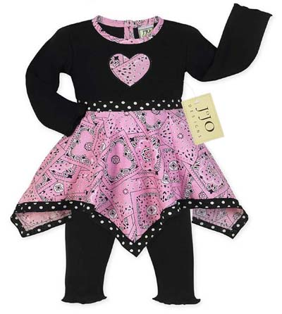Pink Bandana Hanky Leggings 2pc Outfit or Dress by Sweet Jojo Designs - Click to enlarge