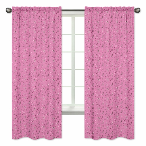 Pink Bandana Window Treatment Panels for Western Cowgirl Collection by Sweet Jojo Designs - Set of 2 - Click to enlarge