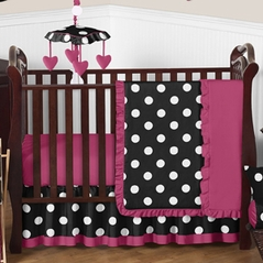 Pink, Black and White Hot Dot Baby Bedding by Sweet Jojo Designs - 4pc Crib Set