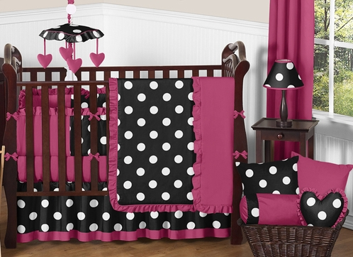 Pink, Black and White Hot Dot Baby Bedding by Sweet Jojo Designs - 9 pc Crib Set - Click to enlarge