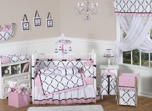 Pink, Black and White Princess Baby Bedding - 9 pc Crib Set - Click to enlarge
