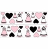 Pink, Black and White Princess Peel and Stick Wall Decal Stickers Art Nursery Decor by Sweet Jojo Designs - Set of 4 Sheets