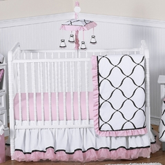 Pink, Black and White Princess Baby Bedding - 11pc Crib Set
