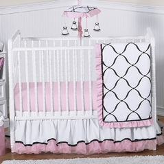 Pink, Black and White Princess Baby Bedding - 4pc Crib Set