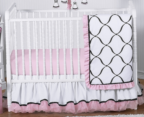 Pink, Black and White Princess Baby Bedding - 4pc Crib Set - Click to enlarge