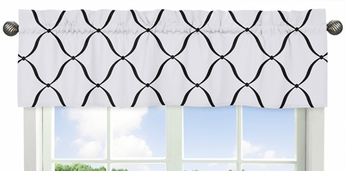 Black and White Designer Print Window Valance for Pink, Black and White Princess Collection - Click to enlarge