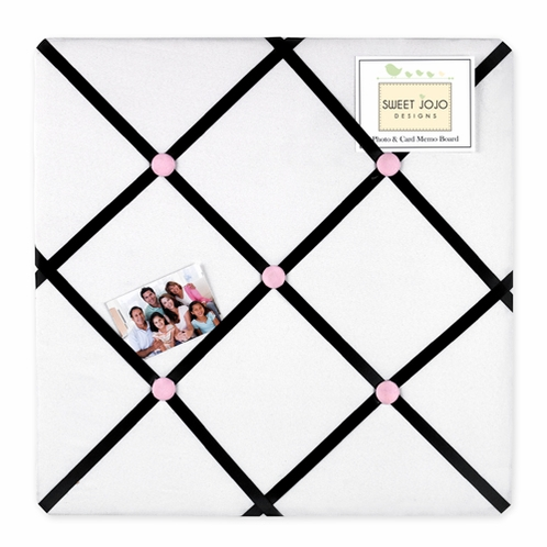Pink, Black and White Princess Fabric Memory/Memo Photo Bulletin Board - Click to enlarge