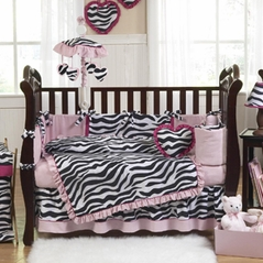 pink black u0026 white funky zebra baby bedding 9 pc crib set