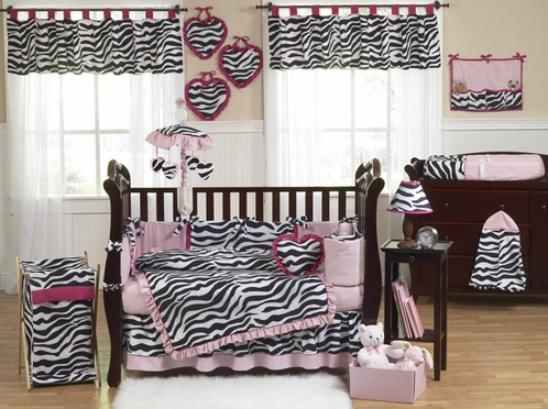 Pink Black White Funky Zebra Baby Bedding 9 Pc Crib Set Click