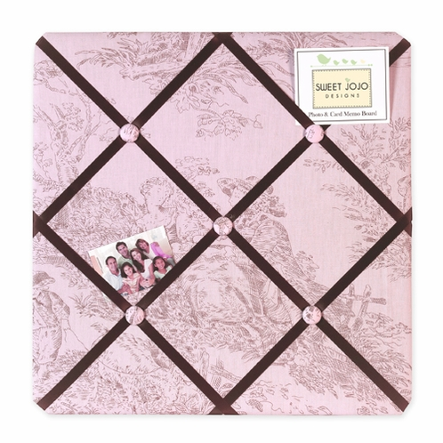Pink Brown French Toile and Polka Dot Fabric Memory/Memo Photo Bulletin Board - Click to enlarge