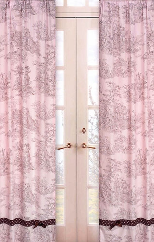 Pink Brown Toile and Polka Dot Window Treatment Panels - Set of 2 - Click to enlarge