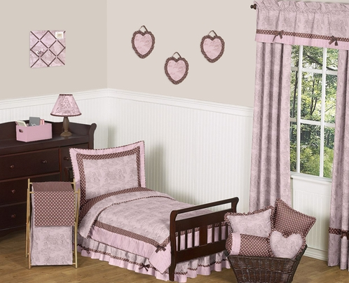 Pink and Brown French Toile and Polka Dot Toddler Bedding by Sweet Jojo Designs - 5 pc set - Click to enlarge