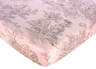 Pink Brown Toile Fitted Crib Sheet for Baby and Toddler Bedding Sets by Sweet Jojo Designs - Toile Print - Click to enlarge