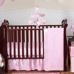 Pink Chenille and Satin Baby Bedding - 11pc Crib Set
