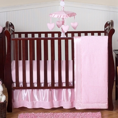 Pink Chenille and Satin Baby Bedding - 4pc Crib Set