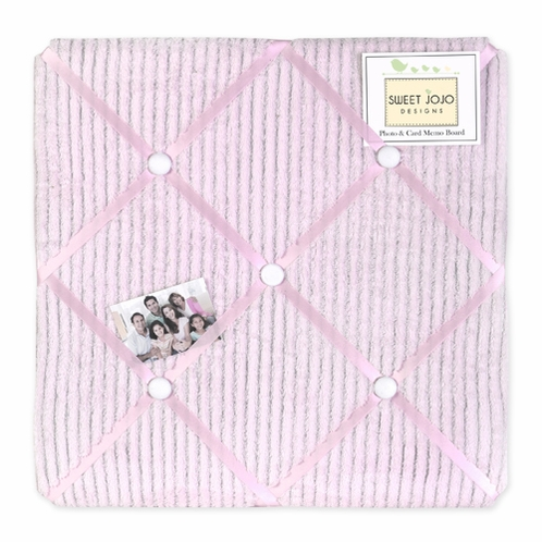 Pink Chenille and Satin Girls Fabric Memory/Memo Photo Bulletin Board - Click to enlarge