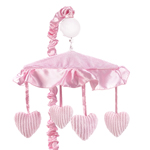 Pink Chenille and Satin Girls Musical Crib Mobile