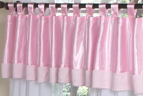 Pink Chenille and Satin Girls Window Valance - Click to enlarge