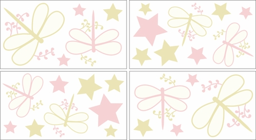Pink Dragonfly Dreams Baby and Kids Wall Decal Stickers - Set of 4 Sheets - Click to enlarge