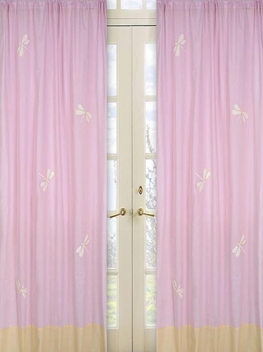 Pink Dragonfly Dreams Window Treatment Panels - Set of 2 - Click to enlarge