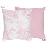 Pink French Toile Decorative Accent Throw Pillow