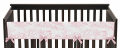 Pink French Toile Baby Crib Long Rail Guard Cover by Sweet Jojo Designs
