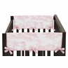 Pink French Toile Baby Crib Side Rail Guard Covers by Sweet Jojo Designs - Set of 2