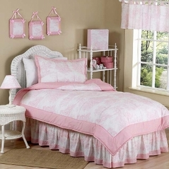 Pink French Toile Children's Bedding - 4 pc Twin Set