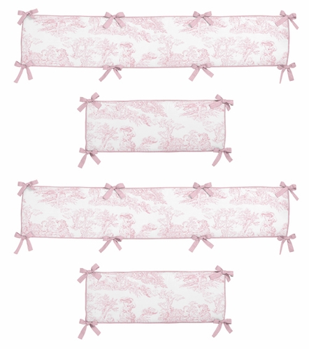 Pink French Toile Collection Crib Bumper by Sweet Jojo Designs - Click to enlarge