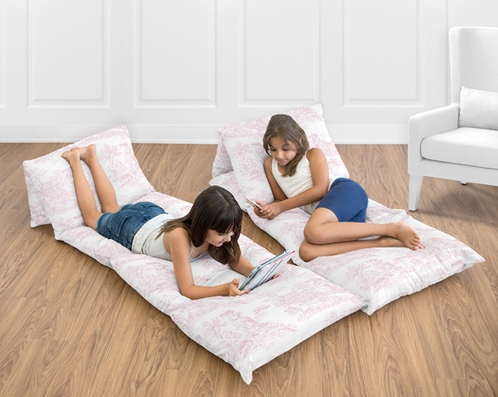 Pink French Toile Collection Kids Teen Floor Pillow Case Lounger Cushion Cover by Sweet Jojo Designs - Click to enlarge