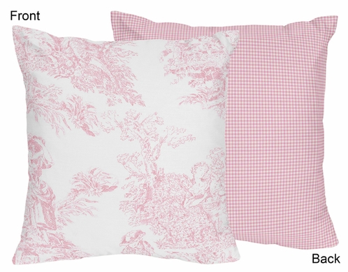Pink French Toile Decorative Accent Throw Pillow - Click to enlarge