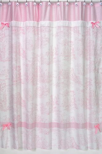 Pink French Toile Kids Bathroom Fabric Bath Shower Curtain Only