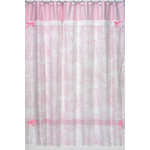 Pink French Toile Kids Bathroom Fabric Bath Shower Curtain