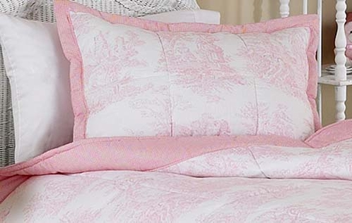 Pink French Toile Pillow Sham - Click to enlarge