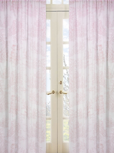 Pink French Toile Window Treatment Panels - Set of 2 - Click to enlarge