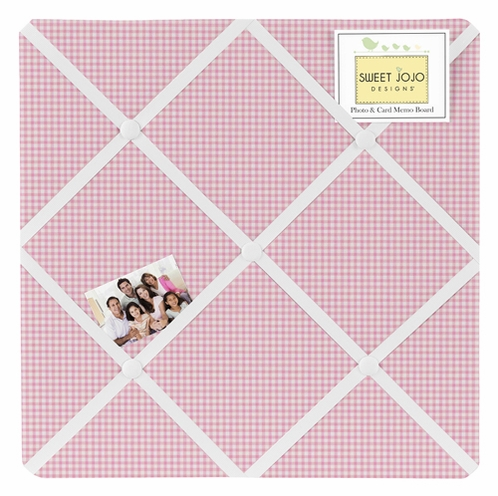 Pink Gingham Fabric Memory/Memo Photo Bulletin Board for French Toile Collection by Sweet Jojo Designs - Click to enlarge