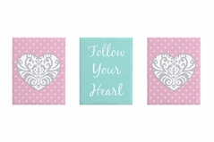 Pink, Gray and Turquoise Damask Heart Wall Art Room Decor Hangings for Baby, Nursery, Kids and Childrens Skylar Collection by Sweet Jojo Designs - Set of 3