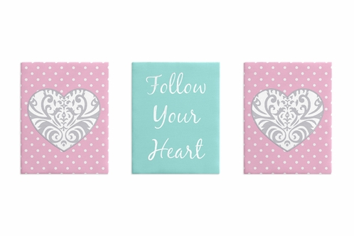 Pink, Gray and Turquoise Damask Heart Wall Art Room Decor Hangings for Baby, Nursery, Kids and Childrens Skylar Collection by Sweet Jojo Designs - Set of 3 - Click to enlarge