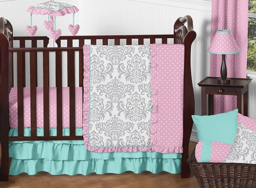 Pink, Gray and Turquoise Skylar Baby Bedding - 11pc Girls Crib Set by Sweet Jojo Designs - Click to enlarge