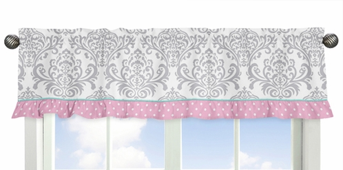 Pink, Gray and Turquoise Skylar�Collection Window Valance by Sweet Jojo Designs - Click to enlarge