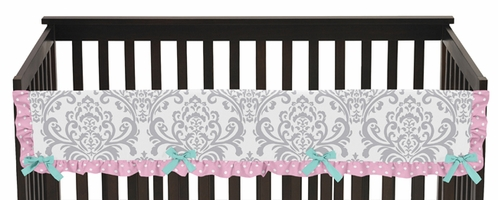 Pink, Gray and Turquoise Skylar Baby Crib Long Rail Guard Cover by Sweet Jojo Designs - Click to enlarge