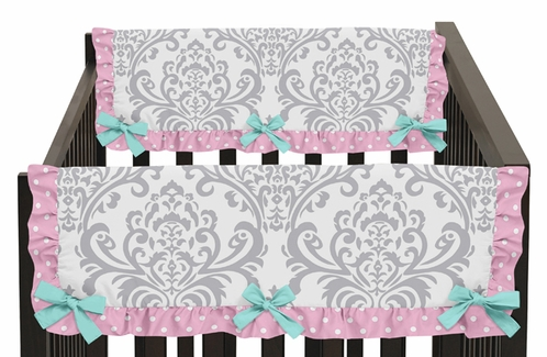 Pink, Gray and Turquoise Skylar Baby Crib Side Rail Guard Covers by Sweet Jojo Designs - Set of 2 - Click to enlarge