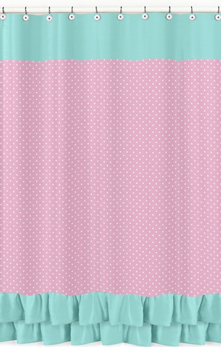 Pink, Gray and Turquoise Skylar Kids Bathroom Fabric Bath Shower Curtain - Click to enlarge
