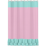Pink, Gray and Turquoise Skylar Kids Bathroom Fabric Bath Shower Curtain