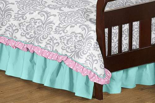 pink gray and turquoise skylar toddler bedding 5pc girls set by sweet jojo designs only 9999 - Toddler Bedding For Girls
