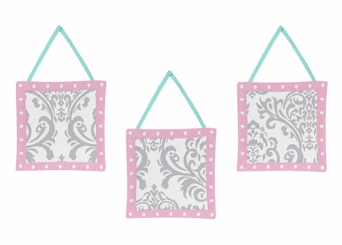 Pink, Gray and Turquoise Skylar Wall Hanging Accessories by Sweet Jojo Designs - Click to enlarge