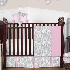 Pink, Gray and White Elizabeth Baby Bedding - 11pc Crib Set by Sweet Jojo Designs